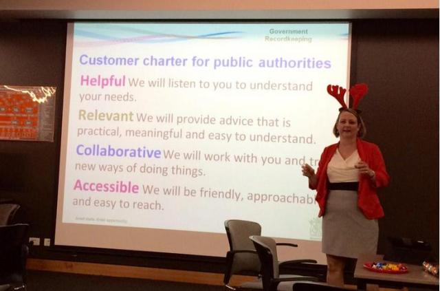 A/Director Government Recordkeeping Josephine Marsh at our 'Keeping Records Together' even on 17 December, 2014.