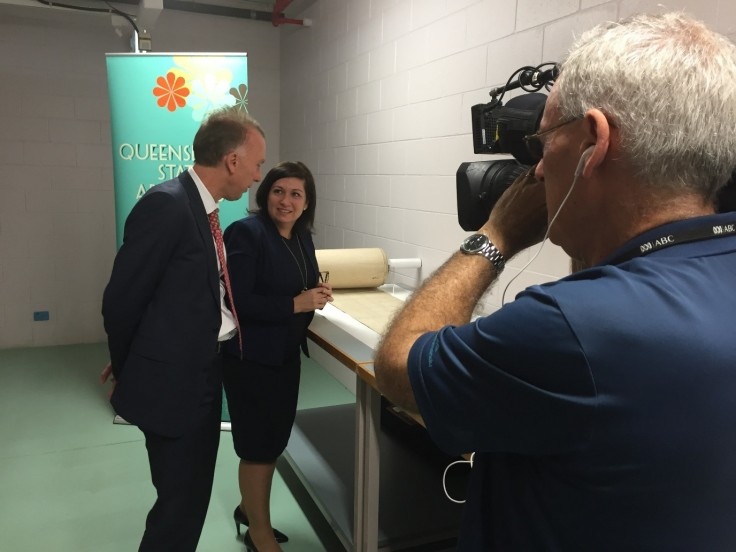 Minister Enoch at Queensland State Archives speaking with Acting State Archivist Mr Adrian Cunningham