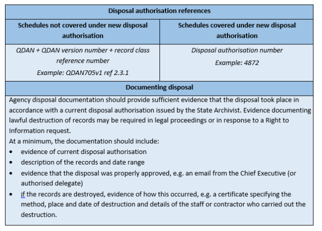 Disposal Authorisation References Table