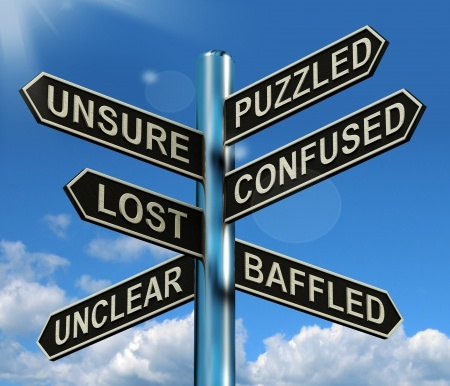 13564622 - puzzled confused lost signpost shows puzzling problem